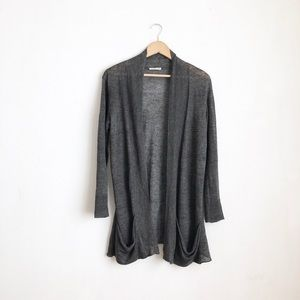 Eileen Fisher Gray duster cardigan size:M linen